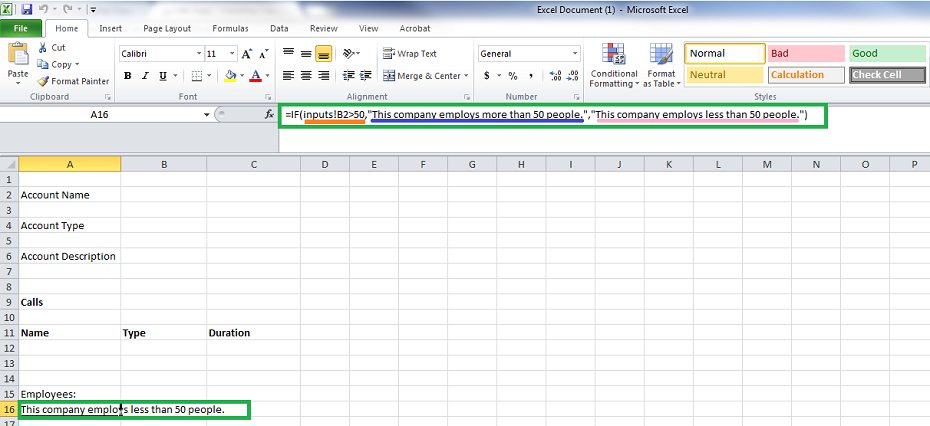 Conditional text in Microsoft Excel