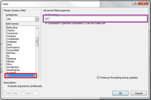 Conditional text in Microsoft Word