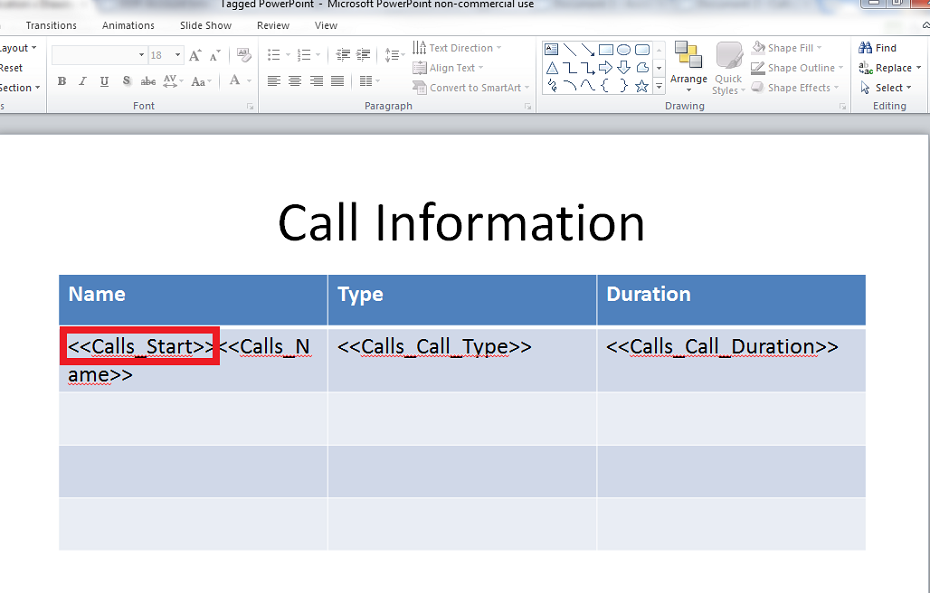 Row replication in Microsoft PowerPoint