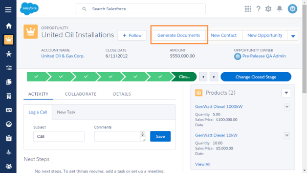 Create a button to generate documents in Salesforce Lightning