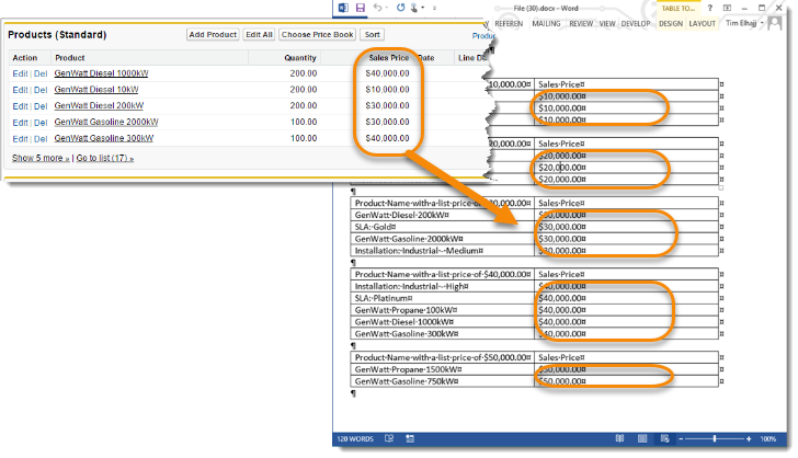 Group data in tables in your output document each product with the same sales price will appear in a table if you have five sales prices you will have five different tables pronofoot35fo Choice Image